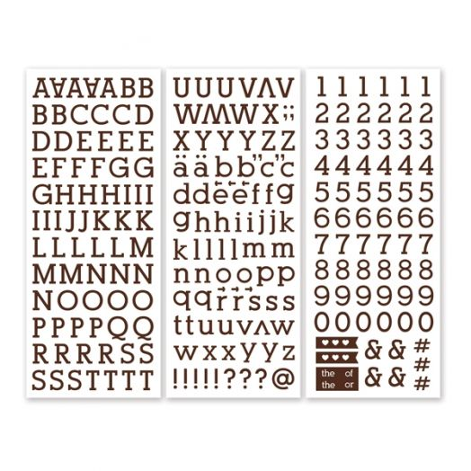 Brown Serif ABC/123 Letter Stickers (3/pk)