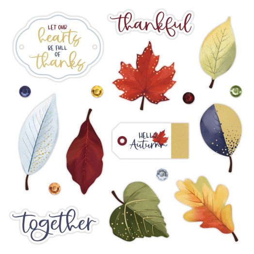 Creative Memories leaf decorations for scrapbooking: Hello, Autumn Foiled Embellishments