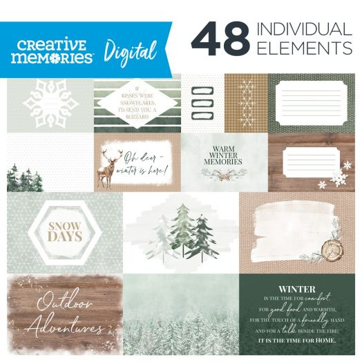 Creative Memories winter digital photo mats - Winter Woods