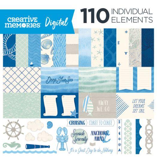 Creative Memories Deep Blue Sea nautical digital scrapbook kit - D657260