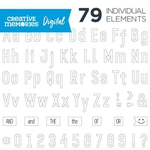 Digital White Sans Serif ABC/123 Elements