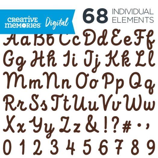 Digital Brown Script ABC/123 Elements