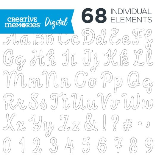 Digital White Script ABC/123 Elements