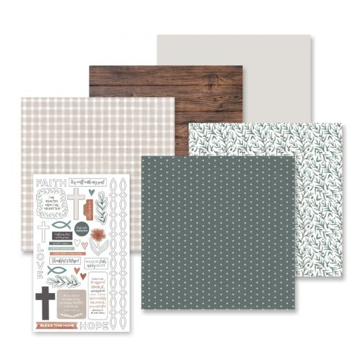 Creative Memories faith stickers and scrapbook paper kit