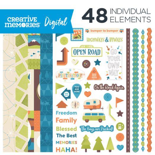 Creative Memories Open Road travel digital scrapbook kit - D657315
