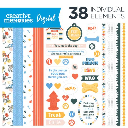 Creative Memories Puppy Love dog digital scrapbooking kit - D657311
