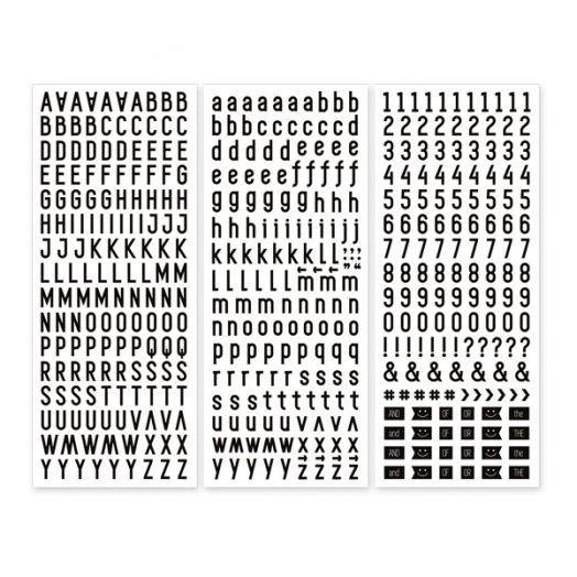 Black Sans Serif ABC/123 Letter Stickers (3/pk)