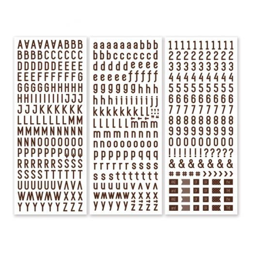 Brown Sans Serif ABC/123 Letter Stickers (3/pk)