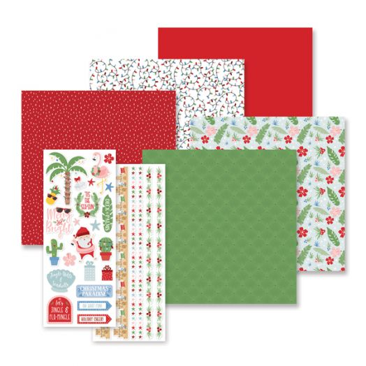 Creative Memories tropical Christmas scrapbook kit - includes scrapbook paper, stickers & cardstock - 657283