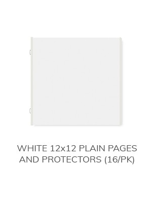 White 12x12 Plain Pages and Protectors (16/pk)